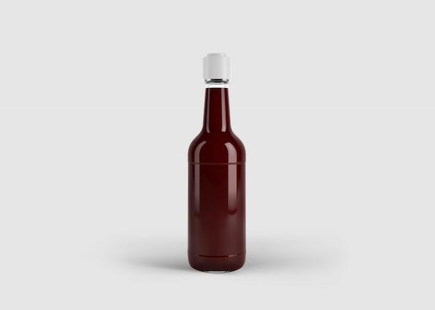 Mockup di bottiglia di salsa o di succo elegante alto con etichetta personalizzata in scena studio pulito