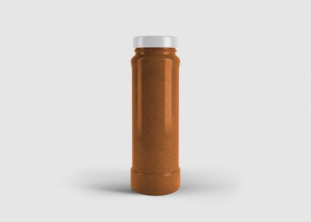 Mockup di succo d'arancia elegante alto o barattolo di salsa con etichetta personalizzata in scena studio pulito