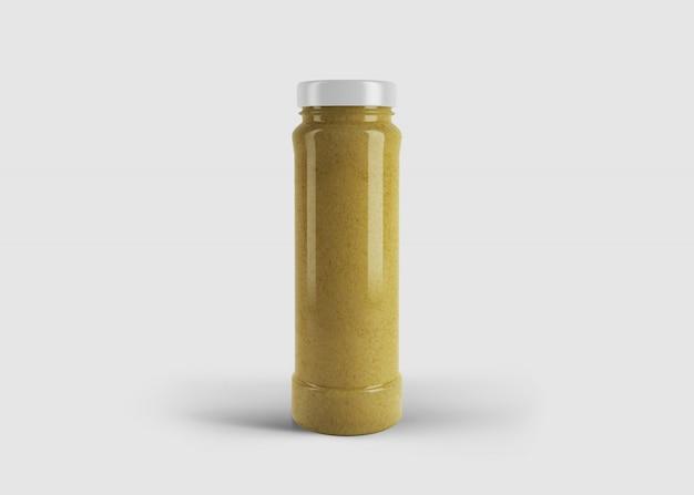 Mockup di succo di elegante alto giallo o barattolo di salsa con etichetta personalizzata in scena studio pulito