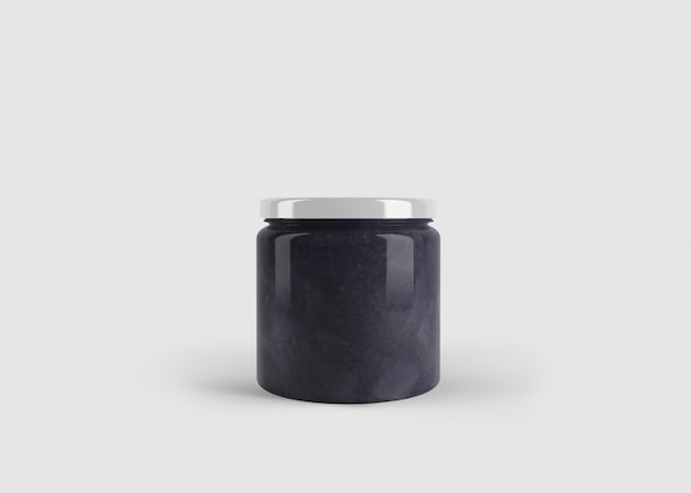 Mockup di marmellata viola o barattolo di salsa con etichetta forma personalizzata in scena studio pulito