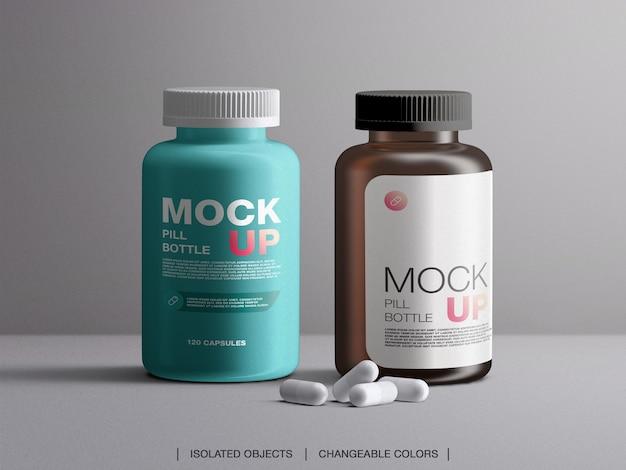 Mockup di vitamine pillola contenitore di imballaggio bottiglia di plastica con capsule isolate