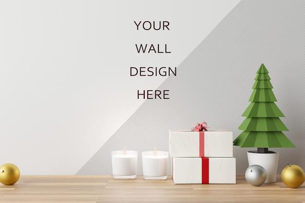 Mockup di arte della parete con scena di decorazioni natalizie. rendering 3d.