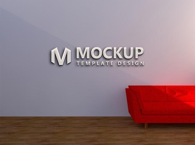 Mockup wall company e sedia rossa realistica per il divano dell'azienda logo