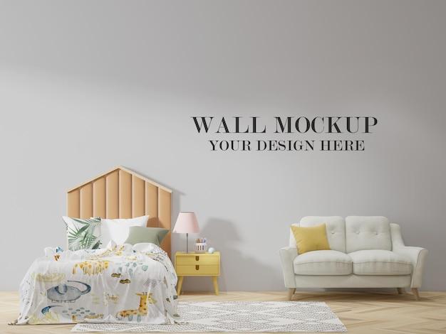 Mockup muro dietro il letto e il divano a forma di cornice della casa