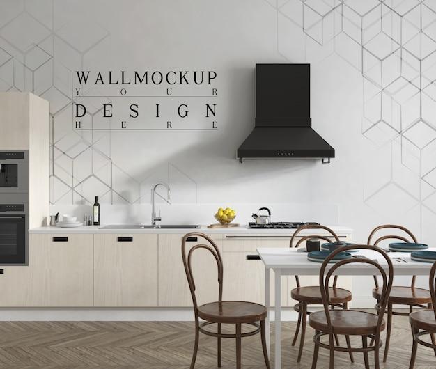 Parete mockup in moderna cucina aperta contemporanea e sala da pranzo