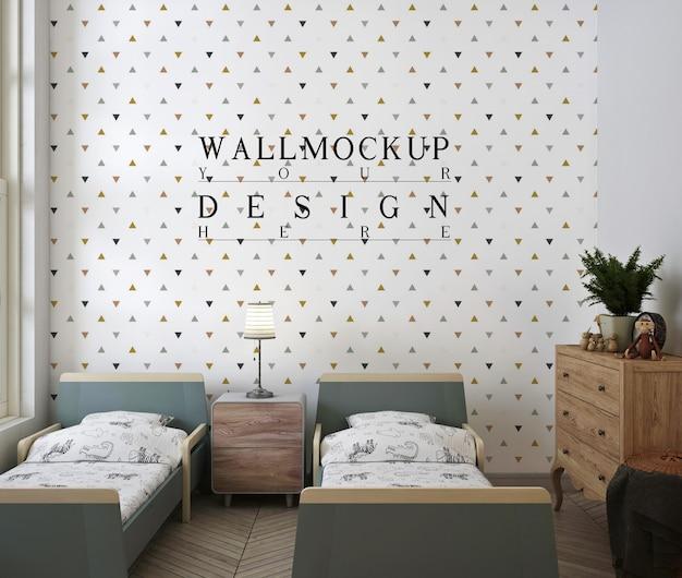 Mockup da parete nella moderna e carina camera da letto per bambini