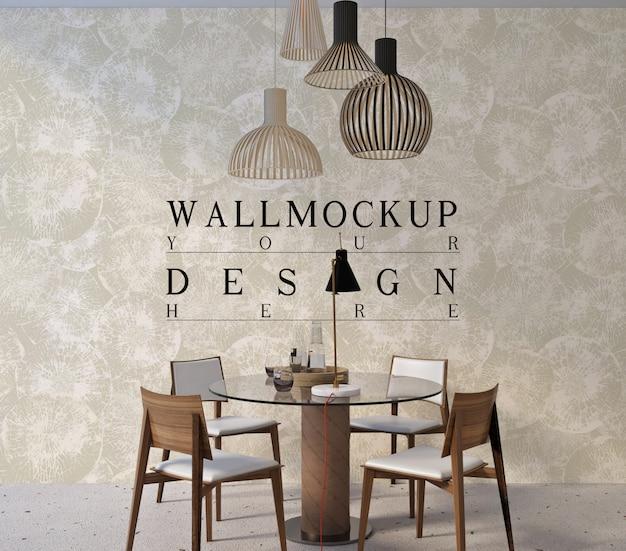Mockup di parete nel design moderno della sala da pranzo