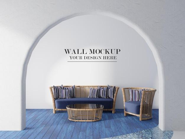 Muro mockup nel tradizionale design d'interni greco
