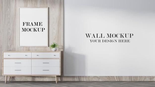 Mockup di parete e cornice in legno in rendering 3d