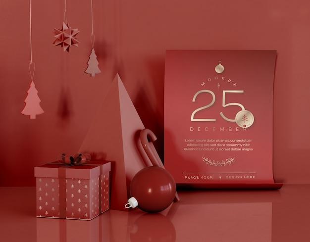 Mockup con decorazioni natalizie rosse