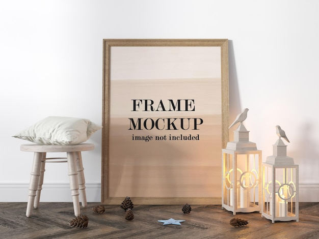 Rendering di progettazione di foto in legno mockup Psd Premium