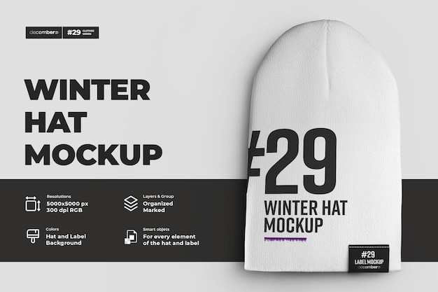 Mockup winter hat beanie. il design è facile nella personalizzazione delle immagini design berretto (cappello, risvolto, etichetta), colore di tutti gli elementi berretto, trama erica
