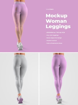 Mockup women leggins. il design è facile personalizzando il design delle immagini (per ogni gamba, polsini e tutti i leggings), colora tutti i leggings e le scarpe da ginnastica (suola, lacci, scarpe da ginnastica, fori) e la trama di erica.