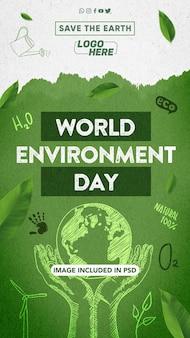 Modello per comporre storie per la giornata mondiale dell'ambiente sui social network