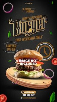 Model stories hamburger delizioso di oggi questo fine settimana