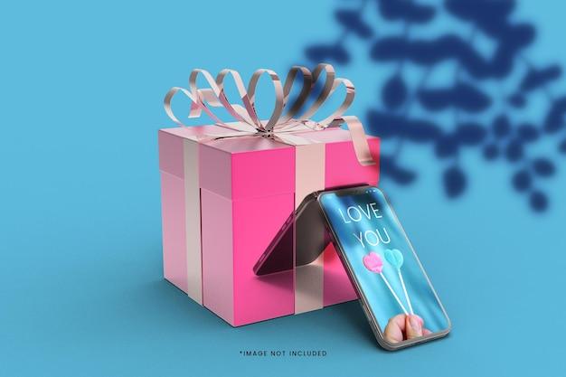 Mockup di scatola regalo 3d moderno con smartphone
