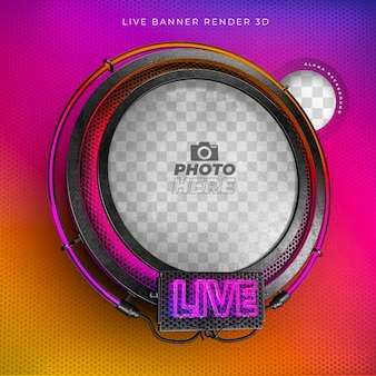 Moderna icona realistica dal vivo 3d con neon e griglia nei colori di instagram