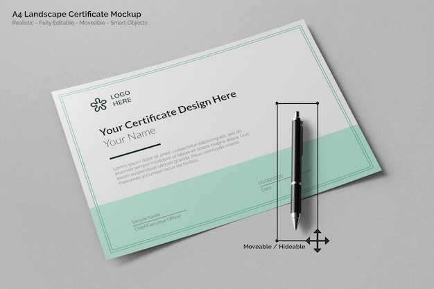 Modello di certificato realistico di paesaggio moderno a4 con vista prospettica della penna della firma