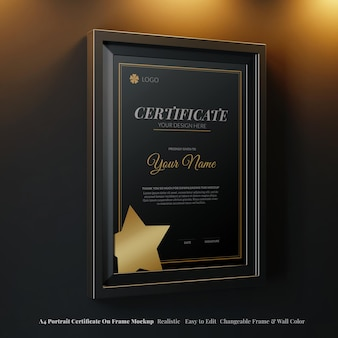 Moderno certificato di riconoscimento del ritratto a4 su mockup di cornice a colori modificabile in interni eleganti