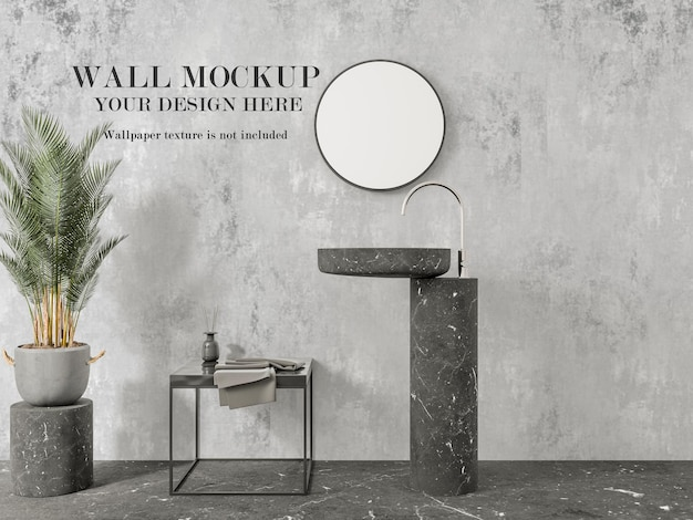 Mockup di parete del bagno moderno per il tuo design Psd Premium