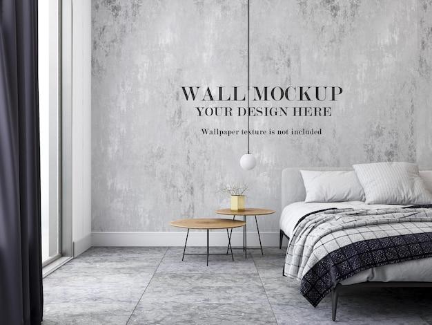 Mockup della parete della camera da letto moderna
