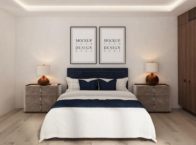 Camera da letto moderna con cornice per poster mockup