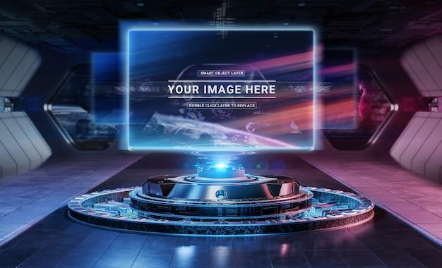 Proiettore moderno per affissioni in futuristico modello interno