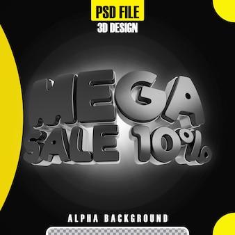Modello moderno di promozione 10 banner mega vendita nero 3d