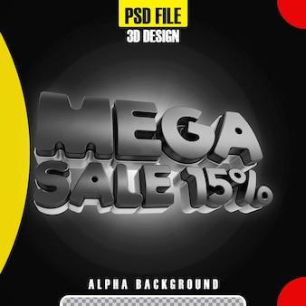 Modello moderno di promozione 15 banner mega vendita nero 3d