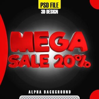 Modello moderno di promozione 20 banner mega vendita nero 3d