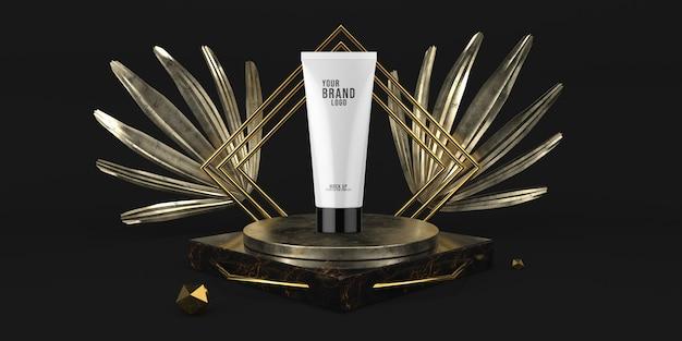 Il modello cosmetico 3d del podio nero moderno dell'esposizione rende