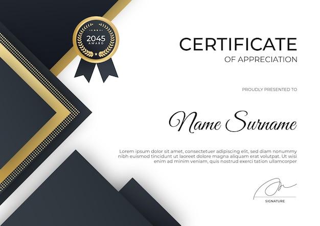 Modello di certificato di conseguimento moderno nero e oro può essere utilizzato per il webinar del corso online se