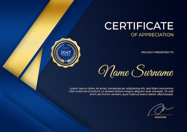 Modello moderno di certificato di apprezzamento in oro blu vestito per l'istruzione aziendale di affari a premio