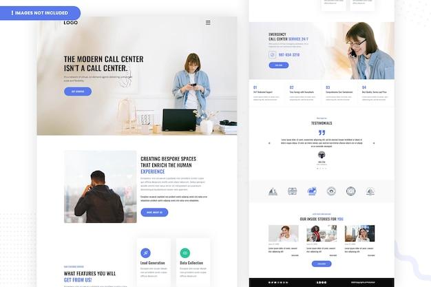 Design moderno della pagina del sito web del call center
