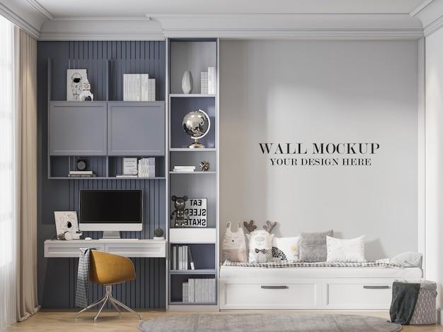Mockup moderno della parete della stanza del bambino nel rendering 3d
