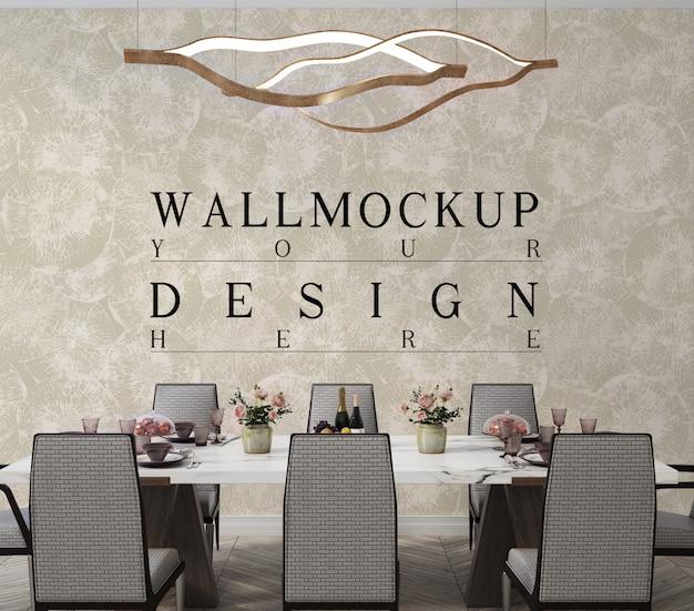 Mockup di parete di design classico moderno della sala da pranzo