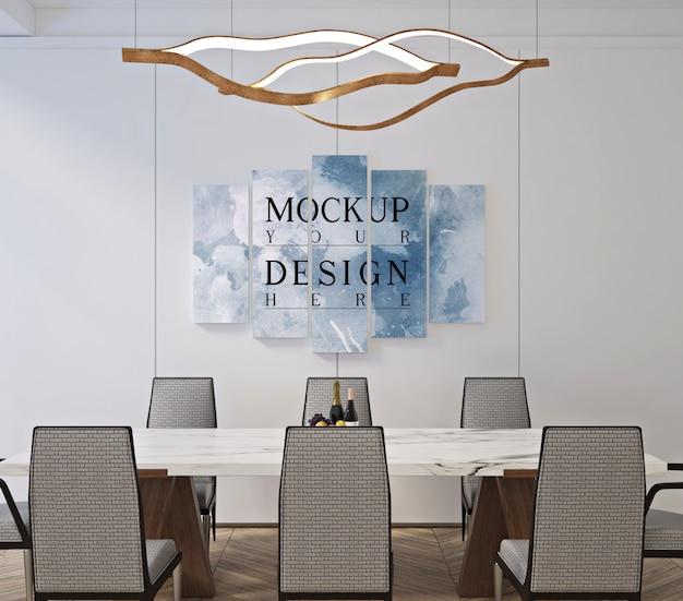 Design classico moderno della sala da pranzo con poster con cornice mockup