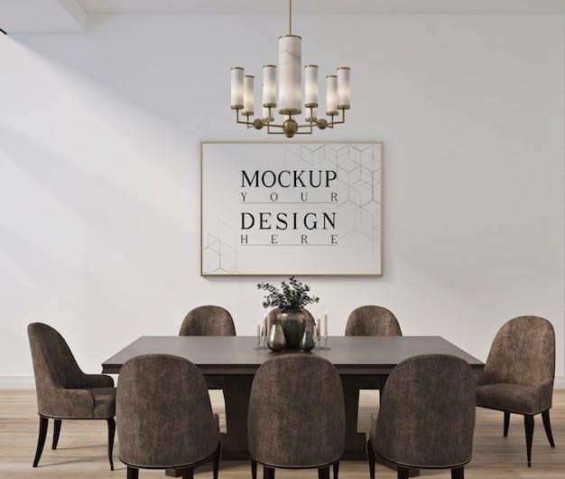 Design moderno e classico della sala da pranzo con poster mockup incorniciato