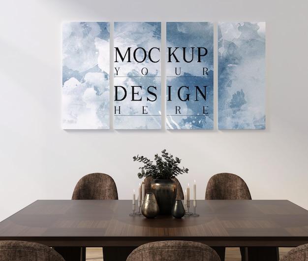 Design moderno e classico della sala da pranzo con cornice mockup