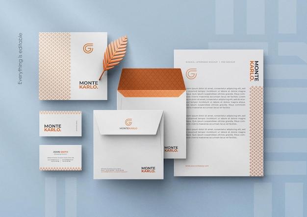 Creatore di scene di mockup di identità di marchio stazionario aziendale moderno pulito minimale