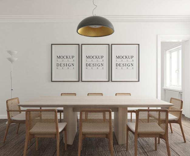 Moderna sala da pranzo contemporanea con mockup di poster