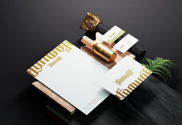 Identità del marchio aziendale moderna e modello di cancelleria con effetto stampa foglia oro