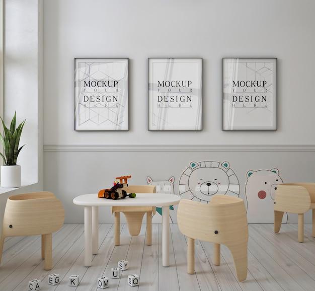 Asilo nido moderno e carino con mockup di poster a cornice