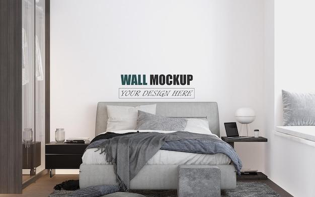 Mockup di parete della camera da letto dal design moderno