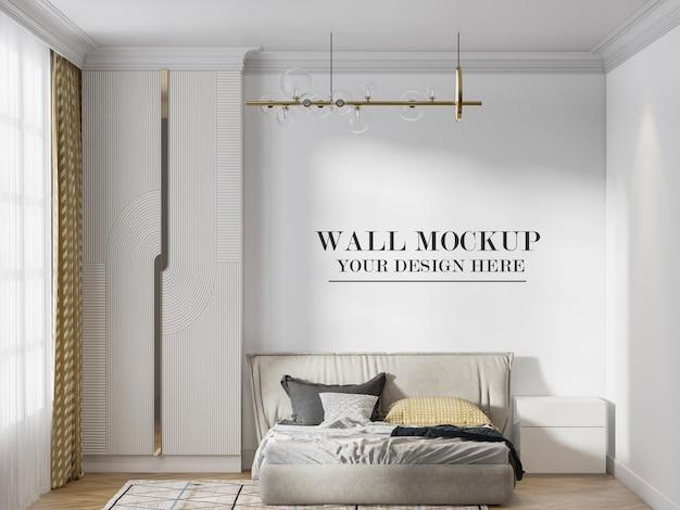 Mockup della parete della camera da letto dal design moderno