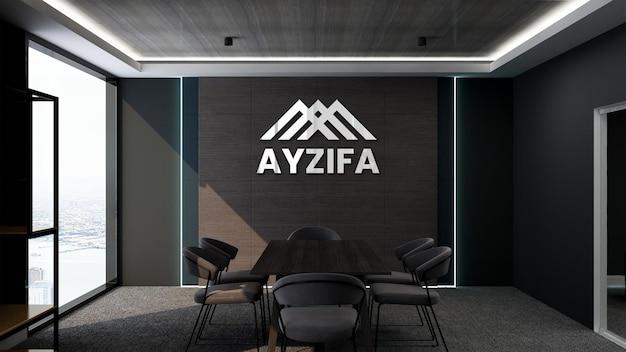 Mockup di parete del logo 3d della sala riunioni di design moderno