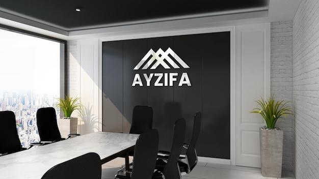Mockup del logo della parete nera della sala riunioni di design moderno