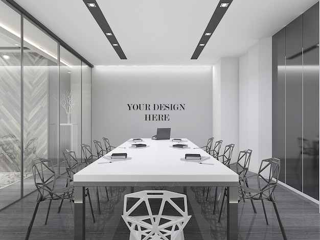 Mockup di parete della sala riunioni di design moderno con mobili e parete di vetro