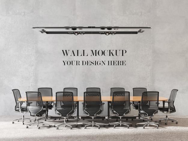 Mockup di pareti della sala riunioni dal design moderno con mobili