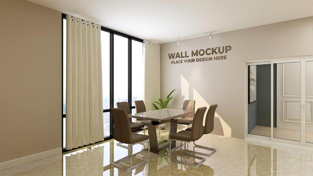 Mockup di parete della sala riunioni dal design moderno